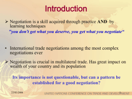 Negotiation skills - UNCTAD Virtual Institute on