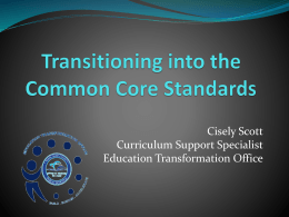 Transitioning into the Common Core - Miami