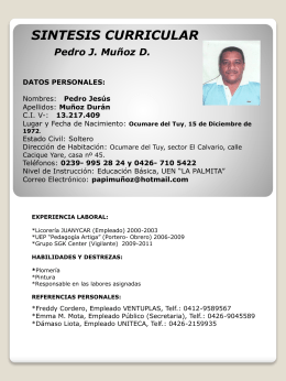 SINTESIS CURRICULAR Pedro J. Muñoz D. DATOS