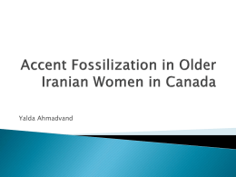 Accent Fossilization in Older Iranian Women in