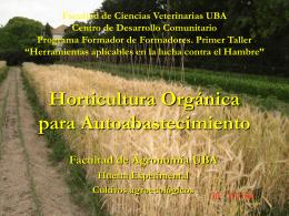 Horticultura Orgánica para Autoabastecimiento