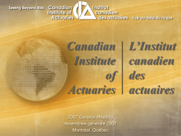 Canadian Institute of Actuaries L'Institut