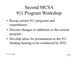 911 Program Workshop