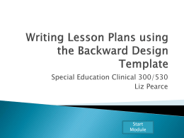 Writing Lesson Plans using the Backward Design