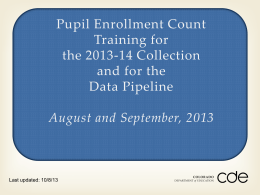 Pupil Enrollment Count Training for the 2013