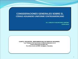 CONSIDERACIONES GENERALES SOBRE EL CÓDIGO ADUANERO