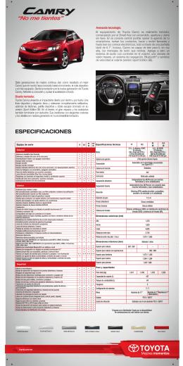 especificaciones 2014 camry