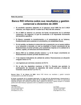 Banco RIO informa sobre sus resultados y gestión comercial a
