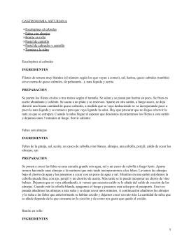 GASTRONOMIA ASTURIANA Escalopines al cabrales • Fabes con