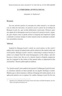 LA VERDADERA JUSTICIA SOCIAL Alejandro A. Tagliavini