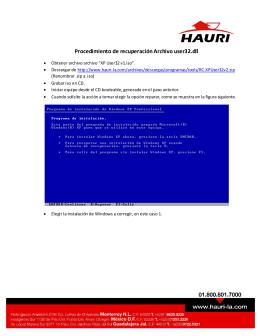 Procedimiento de recuperación Archivo user32.dll