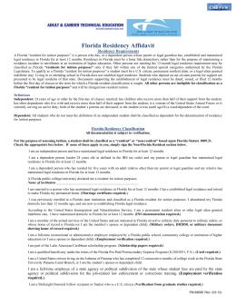 Florida Residency Affidavit - Forms - Miami