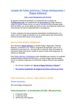 """Listado de Falsos Antivirus / Falsos Antispywares / """"Rogue Software"""""""