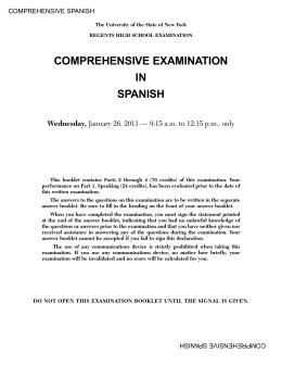 COMPREHENSIVE EXAMINATION IN SPANISH