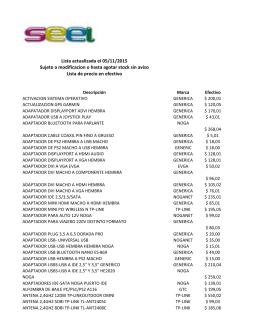 Lista actualizada el 05/11/2015 Sujeto a modificacion o hasta agotar