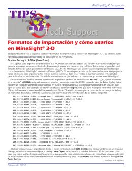 Formatos de importación y cómo usarlos en MineSight® 3-D