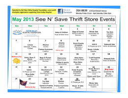 May 2013 See N` Save Thrift Store Events
