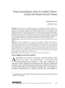Notas sociológicas sobre la cumbia villera. lectura del