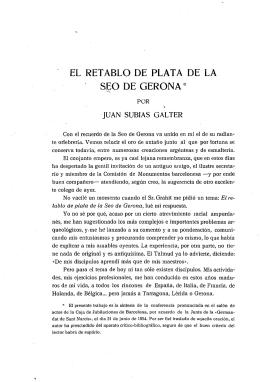 EL RETABLO DE PLATA DE LA &EO DE GERONA *