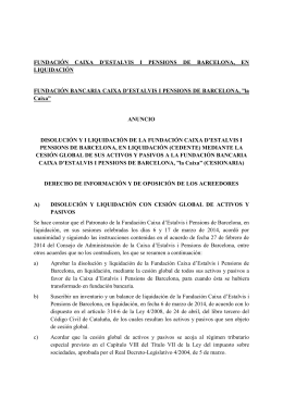 fundación caixa d`estalvis i pensions de barcelona, en liquidación