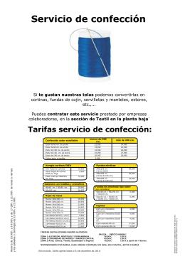 Tarifas servicio de confección