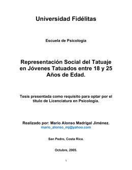Representacion Social del Tatuaje en Jovenes
