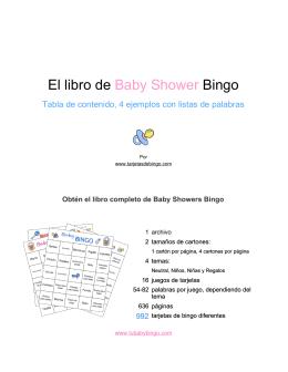 El libro de Bingo Baby Shower - Cartones de bingo para Baby