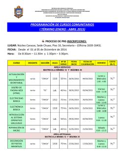 programación de cursos comunitarios i término (enero - abril