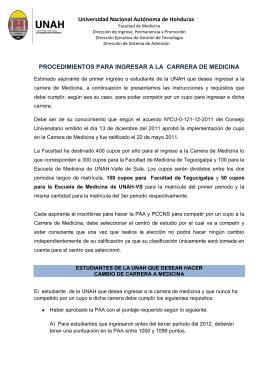 Universidad Nacional Autónoma de Honduras PROCEDIMIENTOS