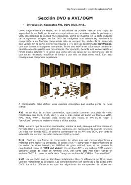 Sección DVD a AVI/OGM