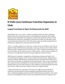 El Pollo Loco Continues Franchise Expansion in Utah Largest
