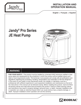 Jandy® Pro Series JE Heat Pump