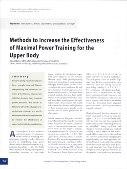 Methods to Increase the Effectiveness of Maximal Power Training for