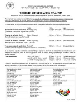 FECHAS DE MATRICULACIÓN 2014– 2015