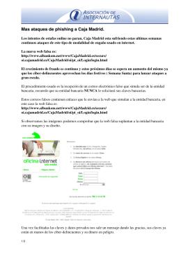 Mas ataques de phishing a Caja Madrid.