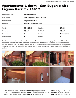 Apartamento 1 dorm - San Eugenio Alto - Laguna Park 2