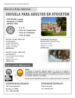 ESCUELA PARA ADULTOS 1525 Pacific Avenue Stockton, CA