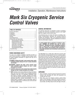 Mark Six Cryogenic Service Control Valves