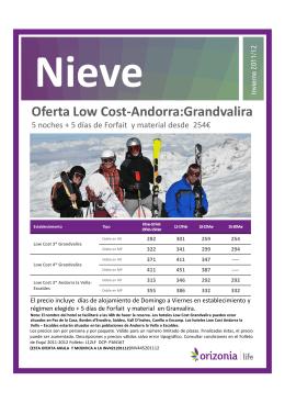 Oferta Low Cost-Andorra:Grandvalira