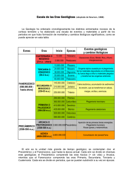 Escala de las Eras Geológicas (adaptada de Newman, 1988)