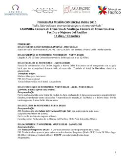Itinerario Misión Comercial India 2015 y Forma de Pago