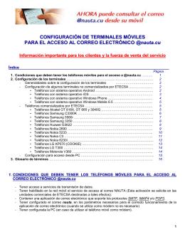 configuración de los terminales