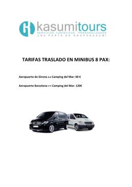 TARIFAS TRASLADO EN MINIBUS 8 PAX: