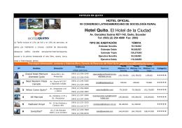 Hotel Quito. El Hotel de la Ciudad