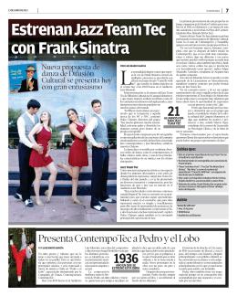 Estrenan Jazz Team Tec con Frank Sinatra