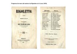 Programa de mano del estreno de Rigoletto en el Liceu (1853)