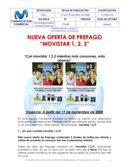 """NUEVA OFERTA DE PREPAGO """"MOVISTAR 1, 2, 3"""""""