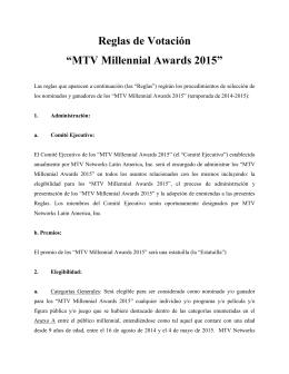 Términos de votación - MTV Millennial Awards 2015
