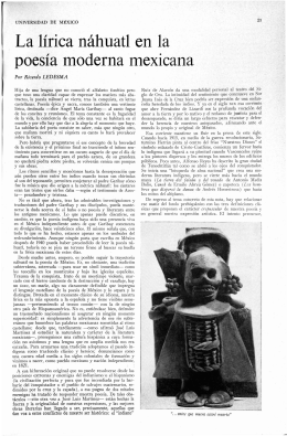 La lírica náhuatl en la poesía moderna mexicana