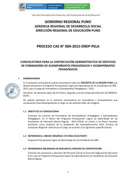 gobierno regional puno proceso cas n° 004-2015-drep-pela